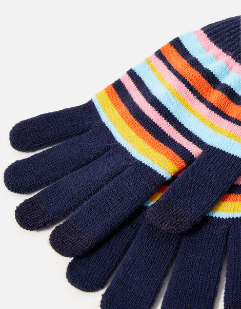 Stripe Stretch Touchscreen Gloves, , large