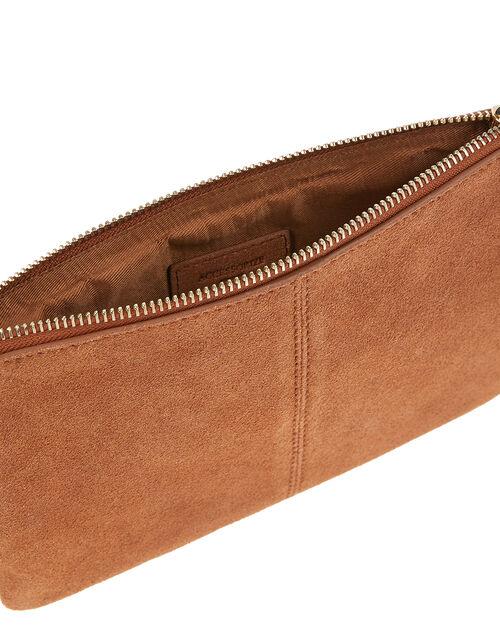 Suede Cross-Body Bag, Tan (TAN), large
