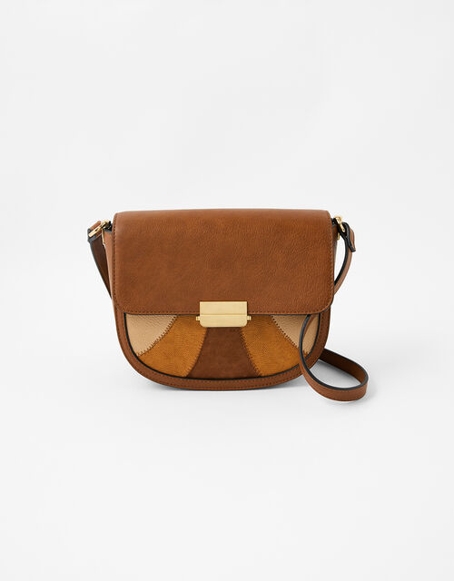 Eloise Patchwork Cross-Body Bag, Tan (TAN), large