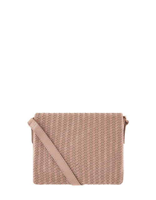 Nora Leather Woven Front Cross-Body Bag, , large