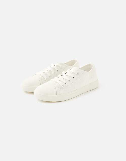 Broderie Trainers, White (WHITE), large