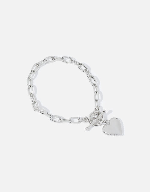 Platinum-Plated Heart Chunky Bracelet, , large