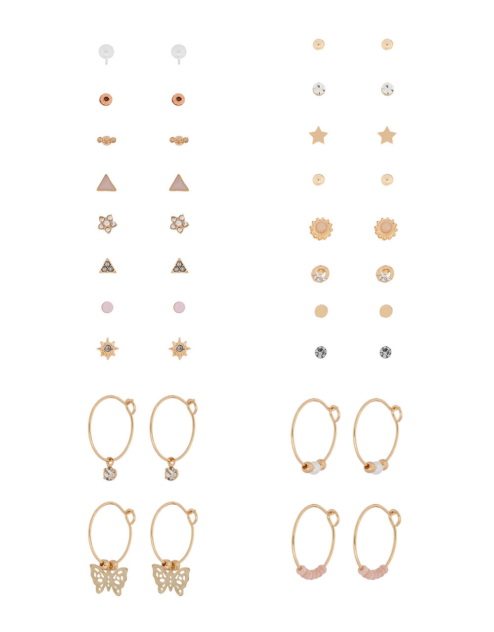 Mixed Shape Hoop and Stud Earring Multipack, , large