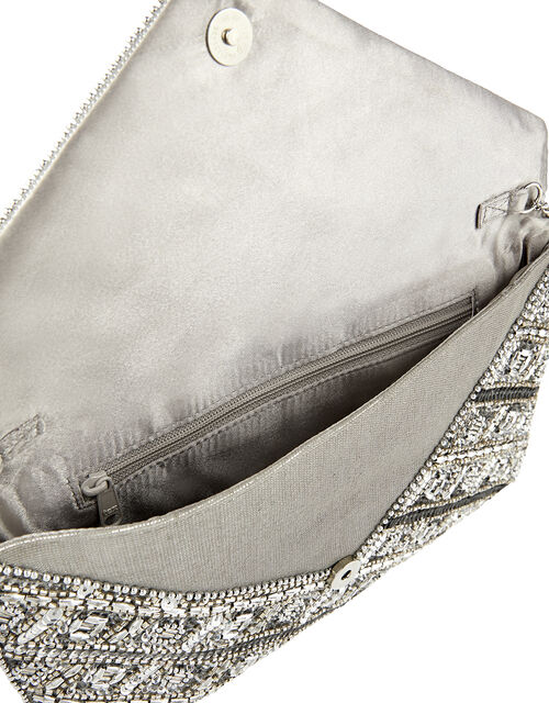Tabitha Embellished Clutch Bag, Silver (SILVER), large