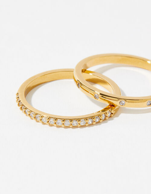 Gold-Plated Pave Ring Set, Gold (GOLD), large