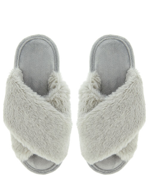 Fluffy Peep-Toe Slipper Sliders, Grey (GREY), large