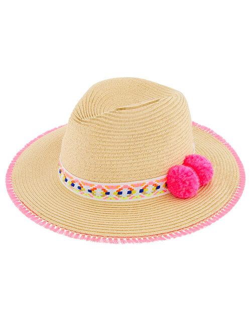Colourful Pom-Pom Fedora Hat, Natural (NATURAL), large