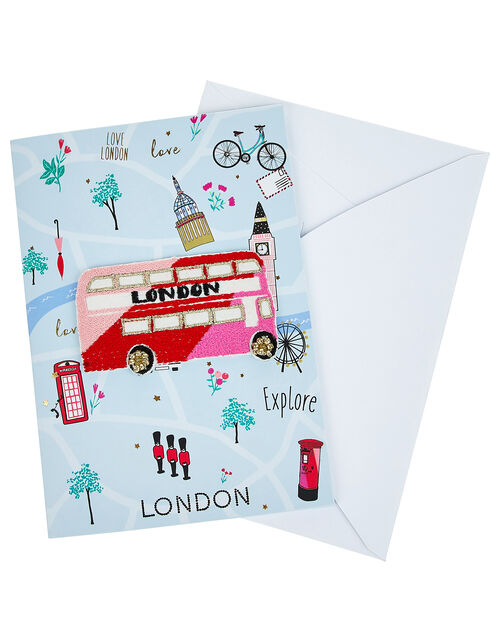 London Greetings Card With Embroidered Patch, , large