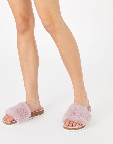Fluffy Slider with Cork Base Pink, Pink (PINK), large
