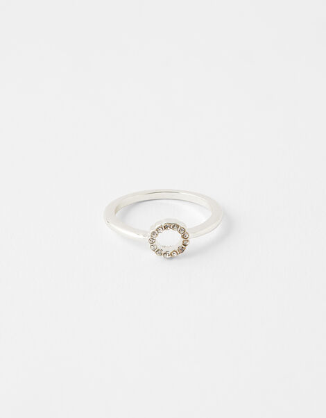 Pave Cut Out Circle Ring White, White (CRYSTAL), large
