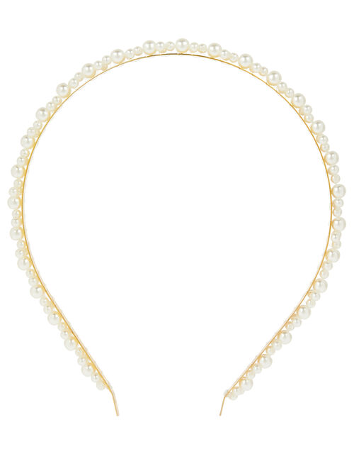 Pearl and Chain Headband Set, , large