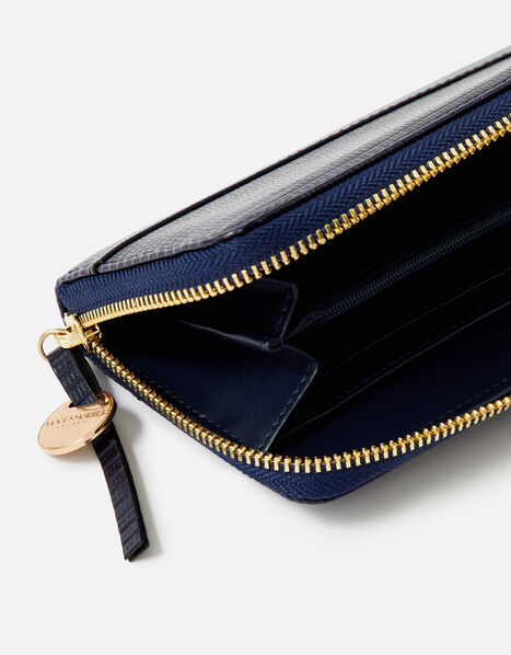 Large Zip Around Wallet Blue, Blue (NAVY), large