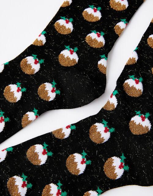 Sparkle Christmas Pudding Socks, , large