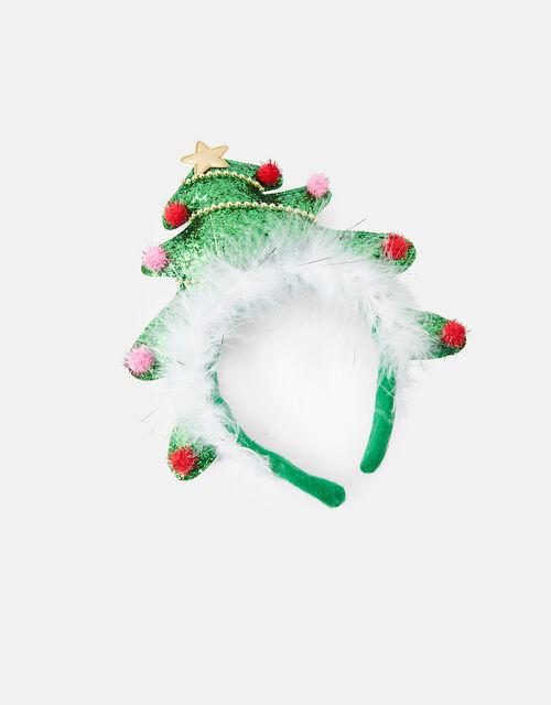 Glitter Christmas Tree Headband, , large