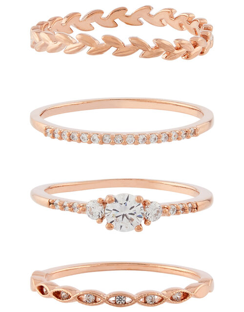 Rose Gold-Plated Vine Stacking Ring Set, Gold (ROSE GOLD), large
