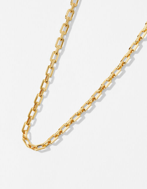 Gold-Plated Flat Chain Necklace, , large