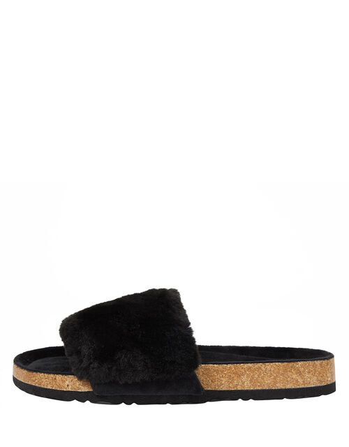 Faux Fur Sliders, Black (BLACK), large