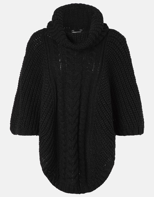 Cable Knit Poncho, Black (BLACK), large