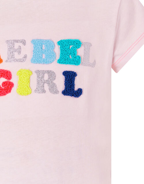 Rebel Girl Glitter T-Shirt in Cotton Jersey, Pink (PINK), large
