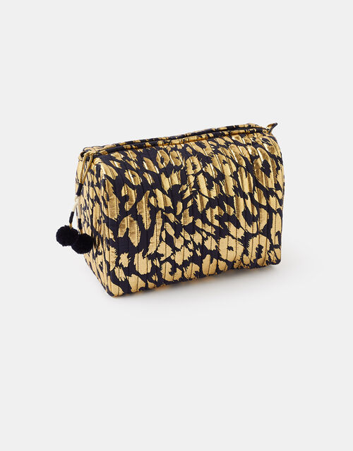 Leopard Metallic Makeup Bag, , large