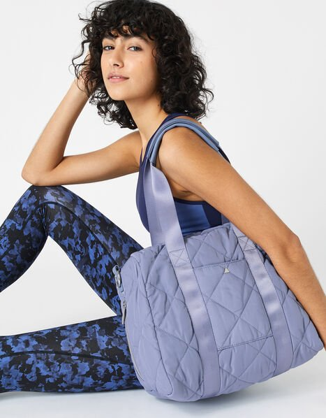 Becca Quilted Gym Bag Blue, Blue (BLUE), large