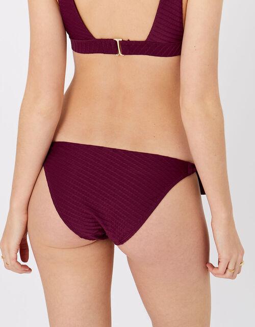 Tie Side Bikini Briefs, Red (BURGUNDY), large