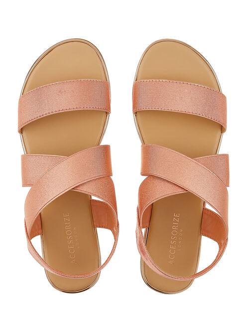 Elasticated Strap Sandals, Gold (ROSE GOLD), large
