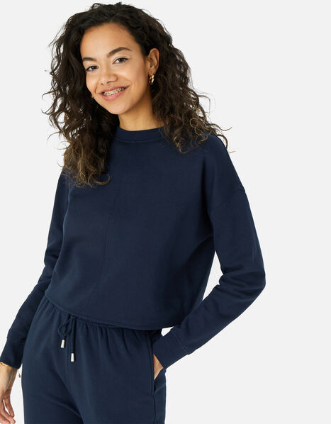 LOUNGE Crop Sweatshirt in Organic Cotton  Blue, Blue (NAVY), large