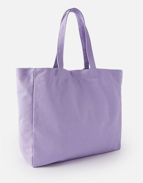 Canvas Shopper Bag Purple, Purple (LILAC), large