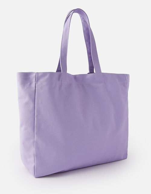 Canvas Shopper Bag, Purple (LILAC), large