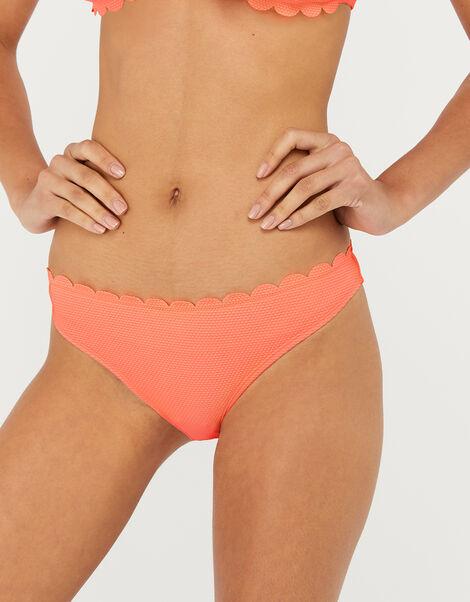 Scalloped Bikini Briefs Orange, Orange (CORAL), large