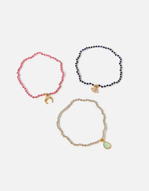 Gold-Plated Beaded Charm Bracelet Set, , large