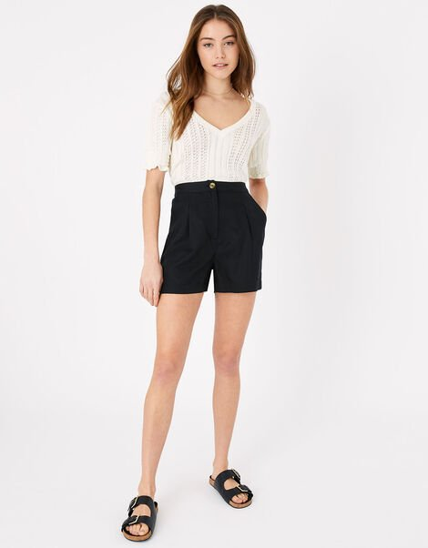 Smart High Waist Shorts Black, Black (BLACK), large