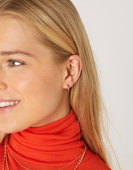 Gold-Plated Plain Huggie Hoop Earrings, , large