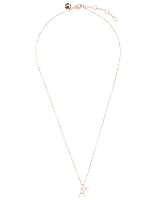 Rose Gold-Plated Initial Star Necklace - A, , large