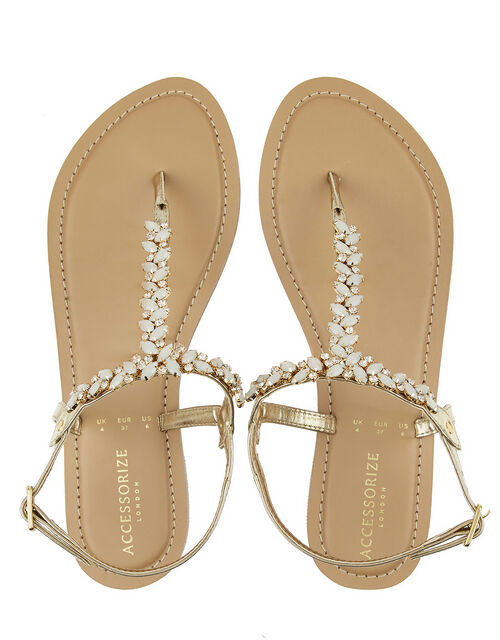 Petra Frosted Gem Sandals, Cream (PEARL), large