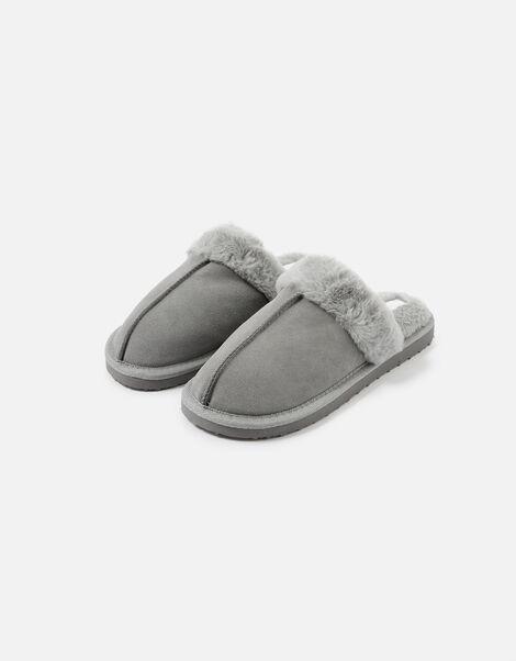 Suede Mule Slippers Grey, Grey (GREY), large