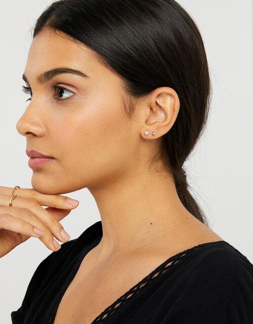 Sparkle Heart Flat-Back Earrings, , large