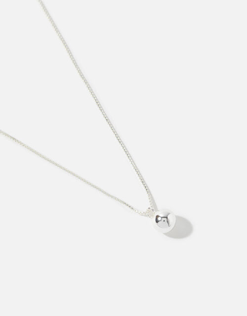 Sterling Silver Ball Pendant Necklace, , large