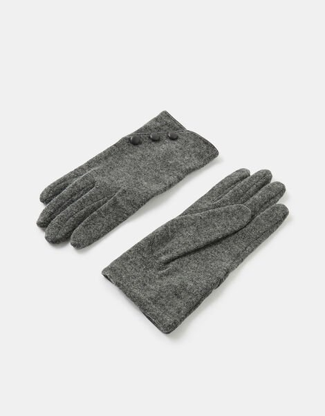 Button Cuff Gloves in Wool Blend Grey, Grey (GREY), large