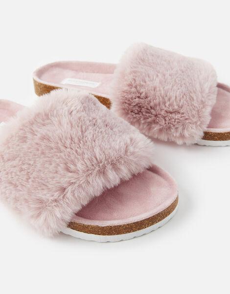 Symone Fluffy Slider Slippers Pink, Pink (PINK), large