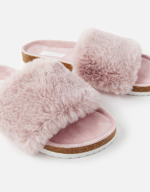 Symone Fluffy Slider Slippers, Pink (PINK), large
