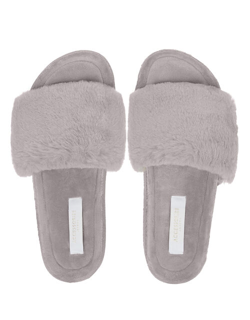 Faux Fur Sliders, Grey (GREY), large