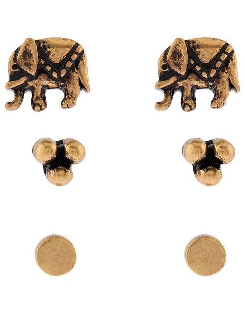 Antique Elephant Stud Earring Set, , large