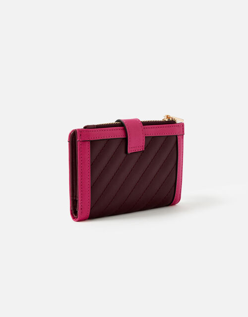 Small Quilt Pushlock Purse, Red (BURGUNDY), large