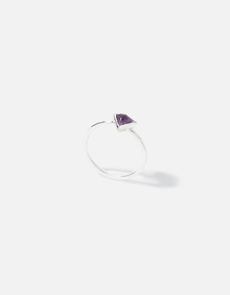 Sterling Silver Healing Stone Amethyst Ring Purple, Purple (PURPLE), large