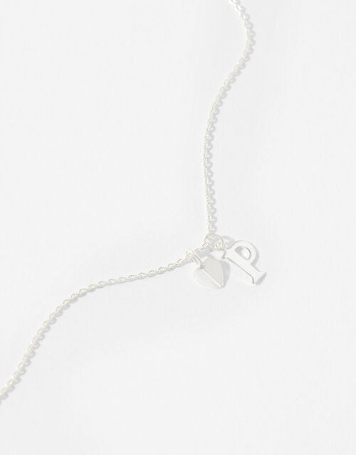 Sterling Silver Heart Initial Necklace - P, , large