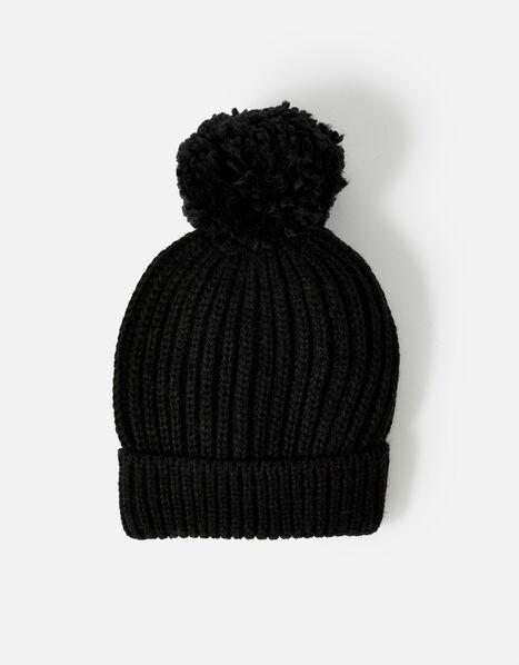 Chunky Knit Pom-Pom Beanie Hat Black, Black (BLACK), large