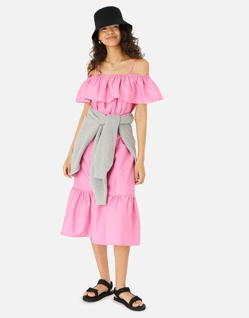 Bardot Poplin Maxi Dress, Pink (PINK), large