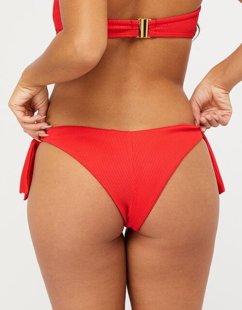 Ribbed Tie-Side Brazilian Bikini Briefs, Red (RED), large